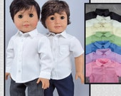 """Dress Shirt for 18"""" boy dolls. Your choice of style, color. Long or short sleeve, button down shirt w/ collar. Fits American Girl Boy dolls."""