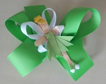 Tinkerbell Large Boutique Hair Bow with French Clip Lime Green with Tink Ribbon Sculpture