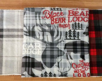 Rustic Baby Burp Cloths Bundle, Gray Plaid Burp Cloth, Red Plaid Burp Cloth, Buffalo Plaid, Elk Buffalo and Bear Burp Rag