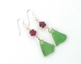 Textured Rhode Island Kelly Green Sea Glass Earrings with Daisy Garnet Czech Glass Beads on Clear Swarovski Bead Sterling Silver Ear Wires