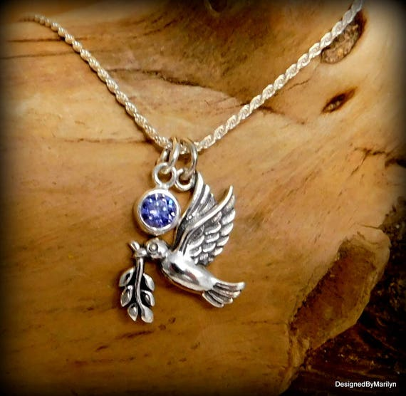 Sterling silver dove of peace charm necklace, symbol of peace, confirmation necklace, spiritual necklace, Christmas dove
