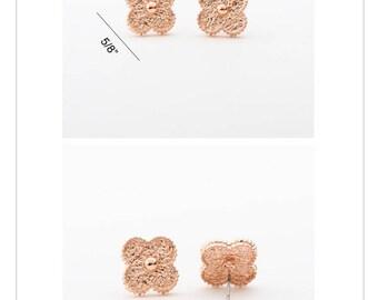 Clover Gold Stud Earrings Rose Gold