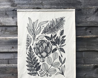 Plant Life Screen Printed Cotton Calico Wall Hanging