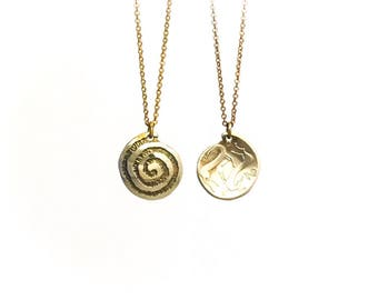 Ancient Spiral Necklace. Etched Coin Necklace. Spiral Charm. Galaxy charm. Time charm. Cyprus necklace. Cyprus charm.