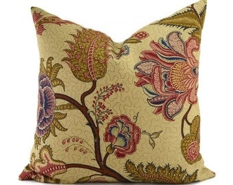 SINHALA LINEN PRINT, Martyn Lawrence Bullard Schumacher Fabric, 20x20, Tree of Life Floral Pattern Throw Pillow Cover