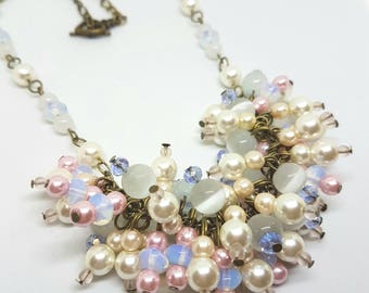 Beaded cluster necklace glass beads white chunky statement bridal bridesmaid
