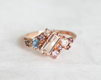 Morganite Ring, Cluster Ring, Baguette Ring, Baguette Engagement Ring, Cluster Engagement Ring, OOAK Engagement Ring, Sapphire Ring