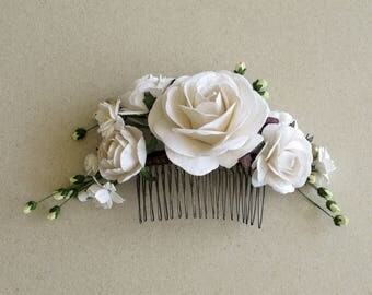 White decorative hair comb -  Bridal hair piece - Made of mulberry paper flowers