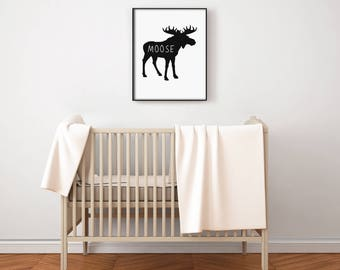 Canadian Animal Nursery Art PRINTABLE - Moose - North American - Minimalist Decor - Silhouette - Baby Shower Gift - Photo Prop - SKU:5447