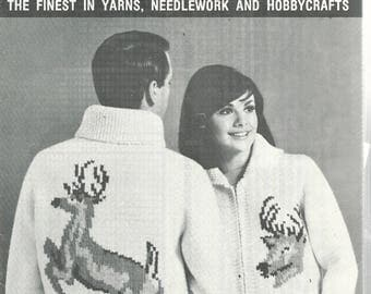 Mary Maxim Vintage Graph Style Knitting Pattern - DEER BUCK CARDIGAN - Zipper - Knit Sweater For Ladies or Youths - Sizes 32, 34, 36