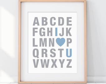 Blue Alphabet Art, Boys Room Nursery, Toddler Boys Room, Blue Kids Art, ABC I Love You, Nursery Art Boy, Boy Baby Decor, Boy Baby Shower