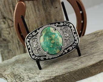 Western Belt Buckle - Turquoise Belt Buckle-Cowboy Belt Buckle -  Silver Tone & Black Belt Buckle with a Genuine Turquoise Stone