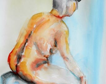 Original figure study, pencil sketch, watercolour washes, from life, female model, sitting, back view, gesture, 11 X 14, Figure 99