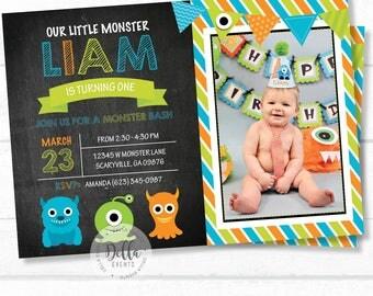 Monster Invitation, Little Monster invite, Monster invitation, Monster Invite, Photo invitation, Birthday invitation, Little Monster (1)