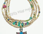 Cross Necklace, Wrap Bracelet, Stretchy ,Bohemian, Faith, Spiritual, Womens Jewelry Beaded Necklace, Custom, Handmade Beaded Jewelry
