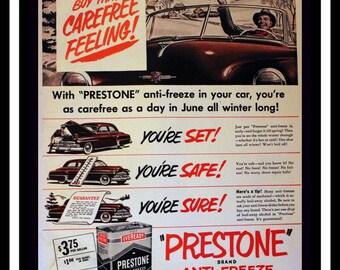 1951 Prestone Anti Freeze Ad - Antifreeze - Wall Art - Home Decor - Garage - Mechanic - Retro Vintage Car & Auto Advertising