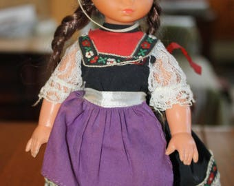 Vintage Hard Plastic Doll-Mexican Traditional Dress-made in Hong Kong