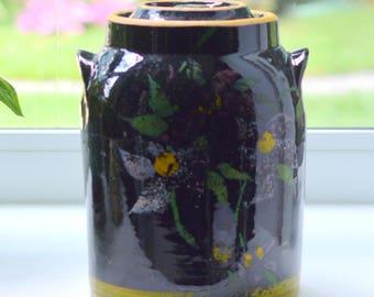 McCoy Black Stoneware Cookie Jar Hand Painted Flowers 1938