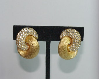 Christian Dior Clip On Earrings - Brushed Gold Tone with Crystals - S2429