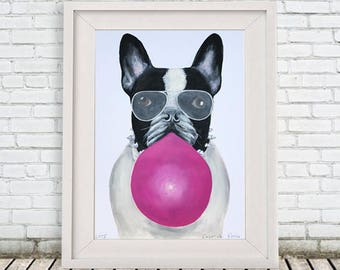 Original Bulldog Painting, on high quality 250g Art paper, handpainted by Coco de Paris: Bulldog with bubblegum