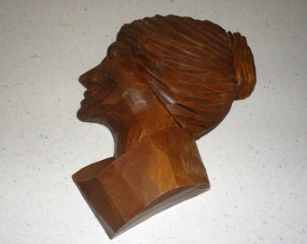 Folk Art Hand Carved Wooden Woman Vintage Wall Hanging Collectible
