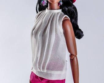 ELENPRIV ivory chiffon top for Fashion royalty FR16 and similar body size dolls
