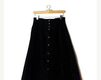 ON SALE Vintage Plain Black Suede Leather Button Down  Flare Long Skirt from 1980's/ W26 /Minimalist*