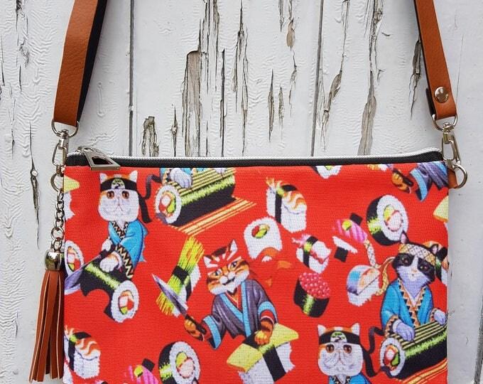 Red Japanese Sushi Cat Handbag - Kawaii Kitten Bag Brown