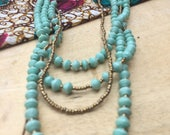 Mint 4 Strand Paper Bead Necklace