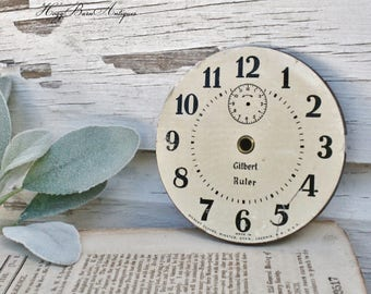 Antique Vintage Metal Clock Face GILBERT RULER Farmhouse Decor Industrial Salvage Fixer Upper Decor