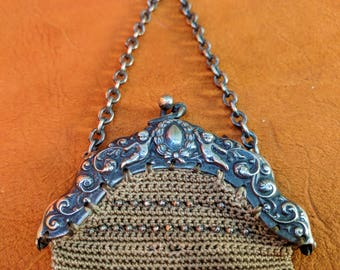 Victorian Crochet and Cut Metal Bead Purse Silver Clasp