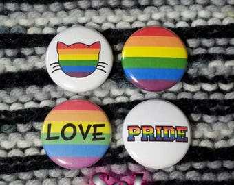 LGBT Love Rainbow Buttons - Set of 4