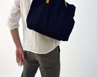 TOTE BAG LINEN . Leather straps Tote Bag. Navy Blue Reusable Bag. Leather and Linen Shopping Bag. Natural Leather. Linen Big Bag