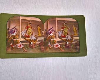 Samurai Fight Osaka Traveler Antique Stereopticon Stereoscope Stereo Viewer Slide Card --- Vintage Japanese Culture Asia History Photograph