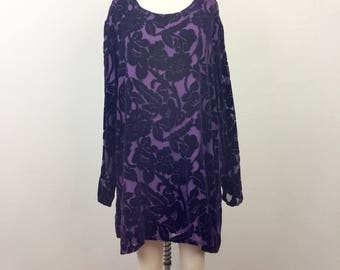Vintage 90s Purple Floral VELVET BURNOUT Silk Tunic Top L/XL