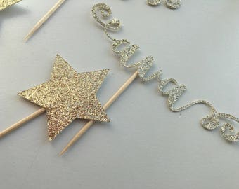Personalized cupcake toppers - name and twinkle stars - set of 12