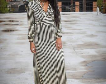 Silky Striped Ruffled Dress