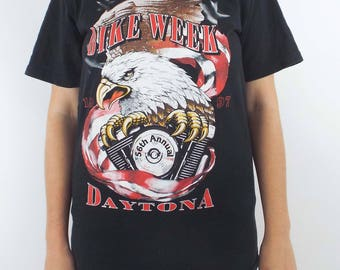 Vintage 90s Daytona Bike Week Black Eagle Tee