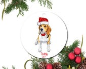 Beagle Ornament, Dog Ornament, Custom Dog Ornament, Personalized Christmas Ornament, Ceramic Ornament, Pet Ornament