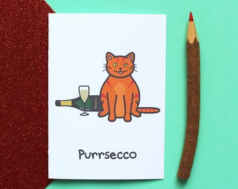 Purrsecco greeting card, cat card, prosecco card, cute card, funny greeting card, funny cat card, cute cat card, cat birthday card, cats