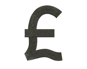 Machine Embroidery Design Instant Download - UK Pound Sterling Symbol 1