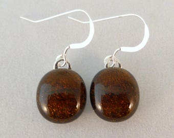 Small Brown Dichroic Fused Glass Dangle Earrings, Brown, Fused Glass, Fused Glass Earrings, Glass Earrings, Dichroic Earrings, Dangle