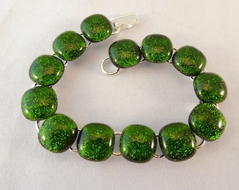 8 Inch Green Fused Glass Bracelet, Dichroic, Fused Glass, Fused Glass Bracelet, Glass Bracelet, Dichroic Bracelet, Green Bracelet,8 Inch