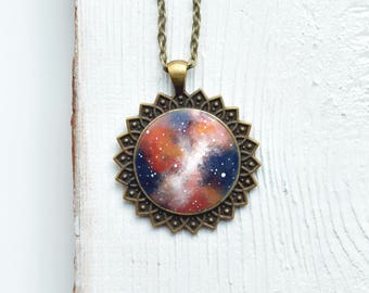 Universe pendant Space jewelry Interstellar Nebula Christmas Orange galaxy Necklace Gift for her Style Outer space