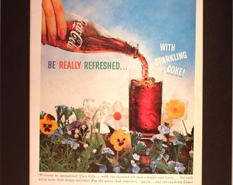 """1959 Coca-Cola """"Be Really Refreshed ... With Sparkling Coke!"""" Magazine Ad /Vintage advertising/retro ads /1950s/ Coke/cool men's gift/"""