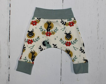 Jackalope Harem Pants, Baby and Kids Harem Pant Leggings, Gender Neutral