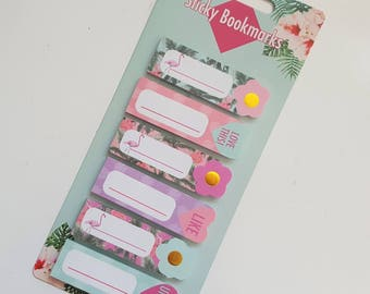 Sticky Notes - Flamingo Tropical Summer Palm Trees - Sticky Bookmarks - Page Markers - Planner Supplies - Gold Embossed