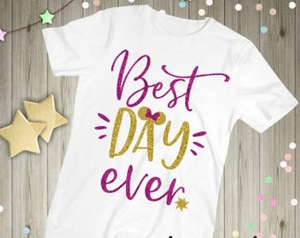 BEST DAY EVER Sparkly Glitter Tangled tee tank top shirt top baby kids girls ladies adult women outfit