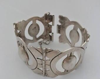 SILVER CUFF MEXICO Bracelet - Sculpted Silver Bracelet - Vintage
