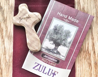 SALE Handheld Olive Wood Cross from the Holy Land Personalized